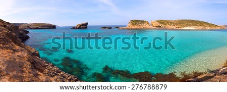 blue lagoon Comino island Malta Gozo - stock photo