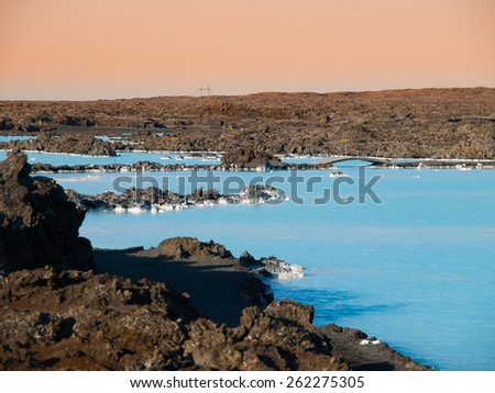 Blue Lagoon geothermal bath resort in Iceland - stock photo