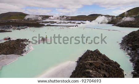 Blue Lagoon geothermal spa in Iceland. - stock photo