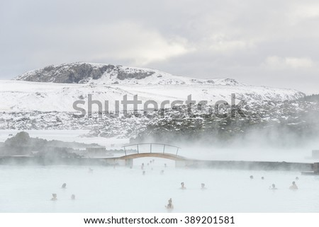 Blue lagoon, Iceland - February 20, 2016: Panoramic view of the thermal SPA Blue lagoon in winter. - stock photo