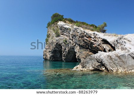 Blue lagoon in Adriatic Sea. HDRI image - stock photo