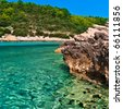 Blue lagoon in Adriatic Sea of Croatia. Island coastline. - stock photo