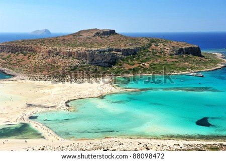 Blue lagoon in Ballos, Crete, Greece - stock photo