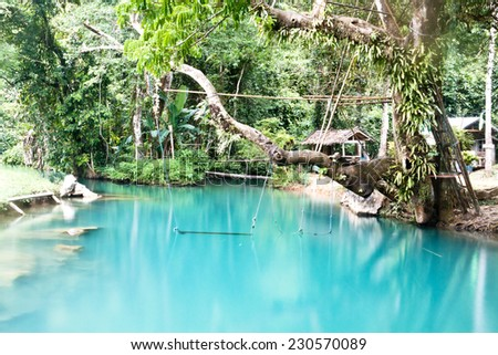 Blue Lagoon in Vang Vieng, Laos - stock photo