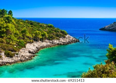 Blue lagoon, island paradise. Adriatic Sea of Croatia, Korcula, popular touristic destination. - stock photo