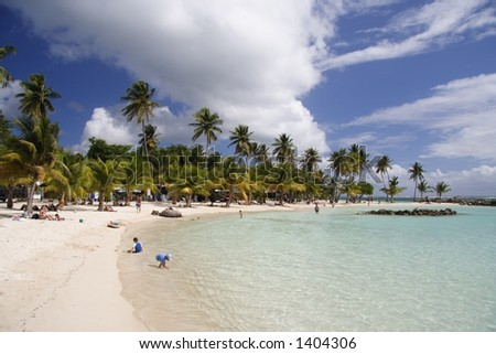Blue lagoon of a caribbean island - stock photo