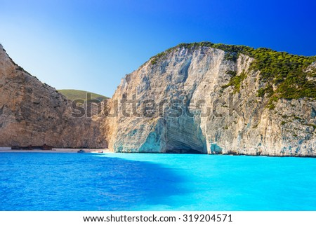 Blue lagoon of Navagio Beach on Zakynthos island, Greece - stock photo