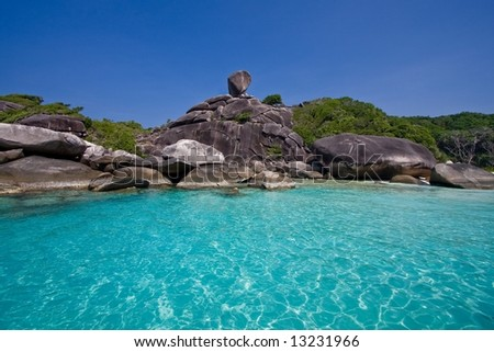 Blue Lagoon on Similan Islands - stock photo