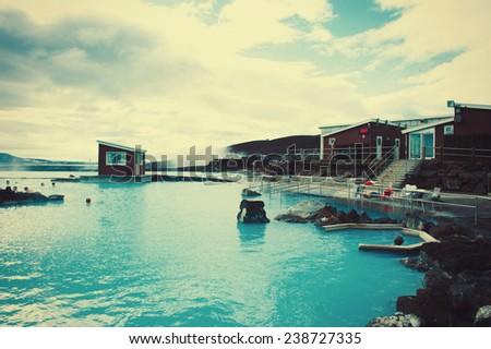 Blue Lagoon Spa Iceland Geothermal bath - stock photo