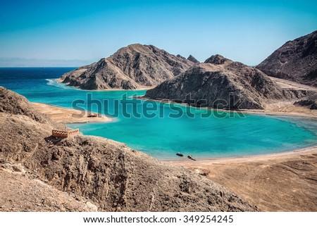 Blue lagoon with emerald water at Sinai, Egypt. - stock photo