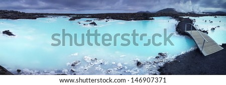 blue lake - stock photo