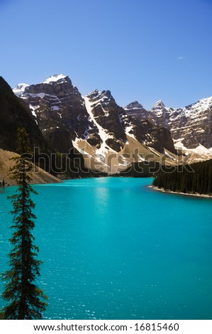 blue lake and some mountain in canada