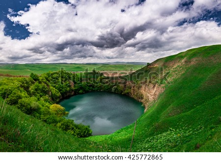 Blue Lake Caucasus - a landscape with lakes with blue water on the background of the sky