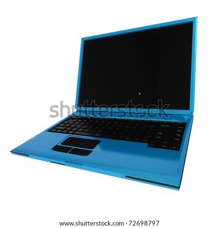 blue laptop on white background - stock photo
