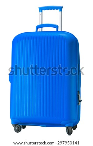 Blue Large polycarbonate suitcase isolated on white - stock photo