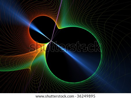 Blue laser beam and full color spectrum: beautiful 3D rendered fractal. - stock photo