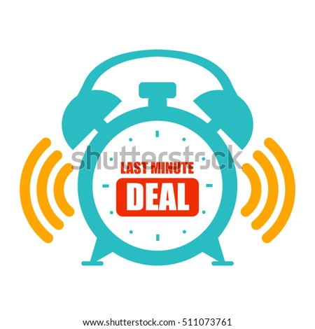 Blue Last Minute Deal Alarm Clock Sign or Icon Isolated on White Background