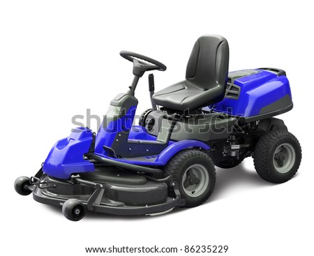 Blue lawn mower. Isolated with clipping path