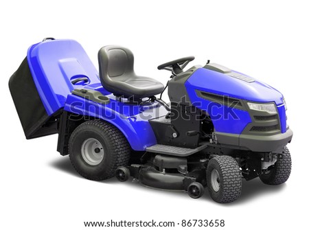 Blue lawnmower. Isolated over white  with clipping path - stock photo