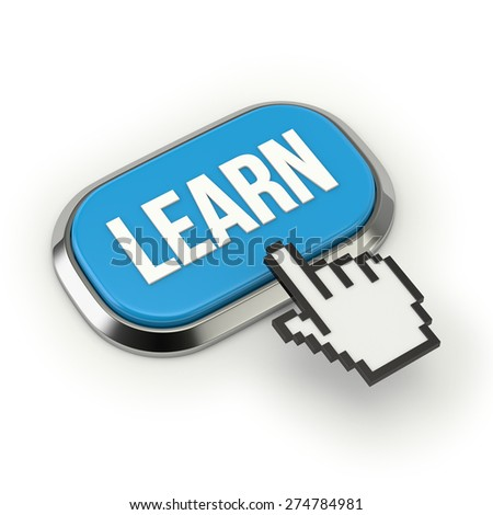 Blue learn button with metallic border on white background