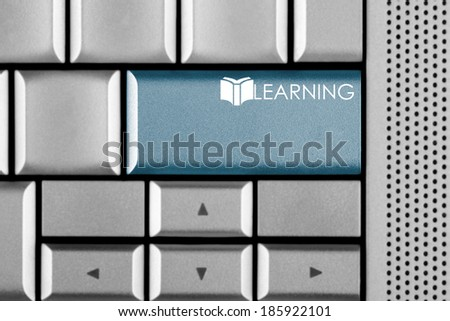 Blue LEARNING key on a computer keyboard with clipping path around the LEARNING key - stock photo