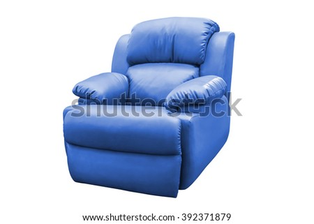 Blue leather armchair isolated on white background, with clipping path. - stock photo