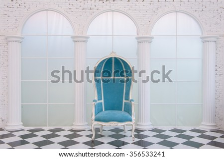 blue leather chair - stock photo