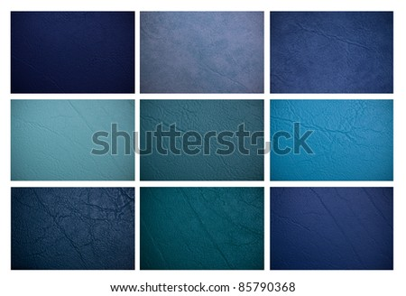 Blue leather collection. - stock photo