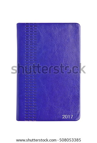 Blue leather 2017 diary note book on white background