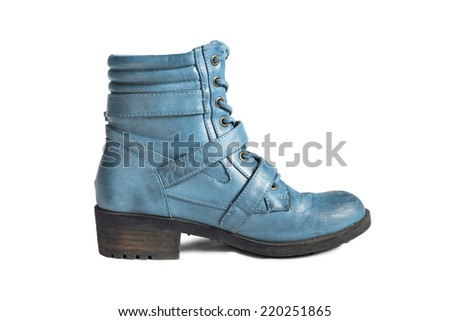 Blue leather hiking boot isolated over white