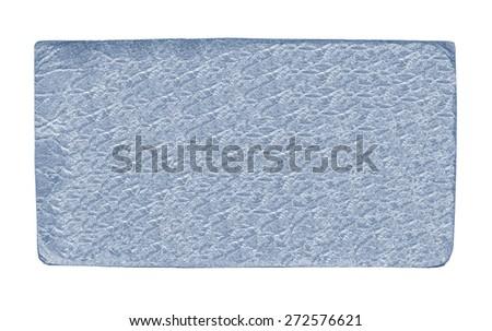 blue leather label on white background - stock photo