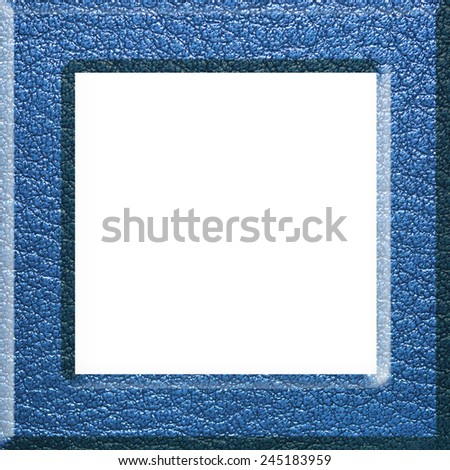 Blue Leather picture frame isolated on white background