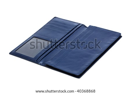 blue leather purse on a white background