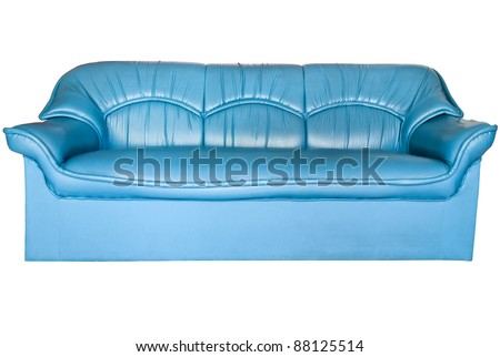 Blue leather sofa isolated on white - stock photo