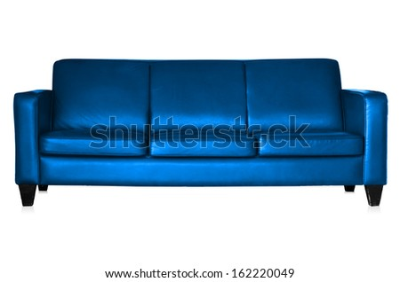 Blue leather sofa isolated on white background with clipping paths. - stock photo