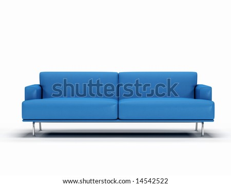 blue leather sofa on white background - digital artwork - stock photo