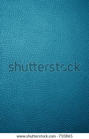 Blue leather texture - Macro - stock photo