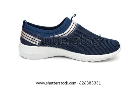 blue leisure shoe for man on white background