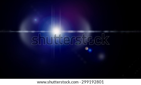 Blue lens flare photo effect on black background. Dynamic vivid colors as blurry lines, spots, specs, dots, glare, lights for backgrounds, wallpapers and web use - stock photo