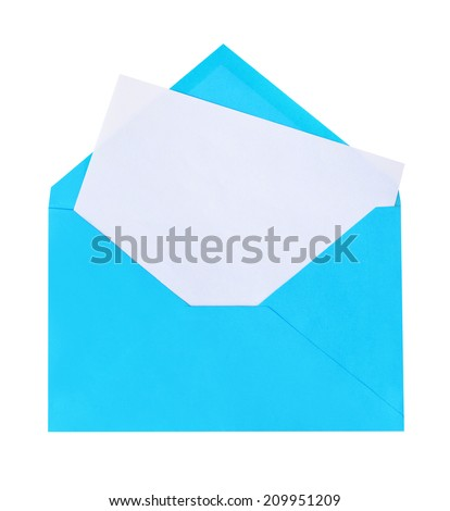 Blue letter isolated on white background - stock photo