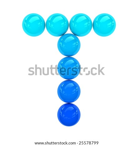 blue letter T composed of solid balls which can reflect light.