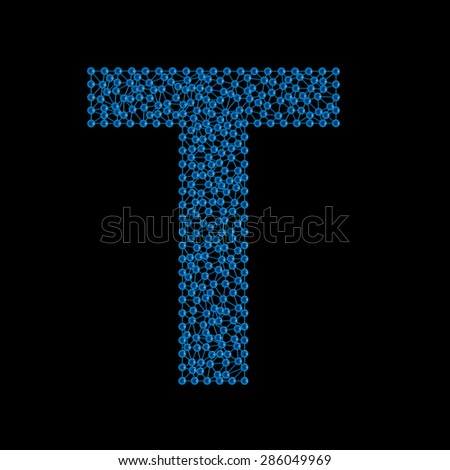 blue letter T on a black background