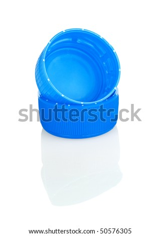 blue lids with reflection isolated - stock photo