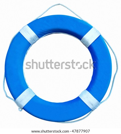 Blue Life Buoy isolated over white background. Clipping path. - stock photo