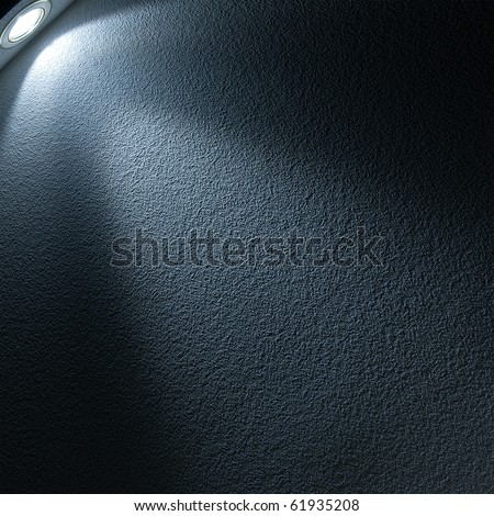 Blue Light Beam from Projector on Black Background - stock photo
