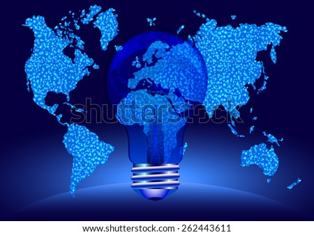 Blue light bulb with globe. Autism awareness - stock photo