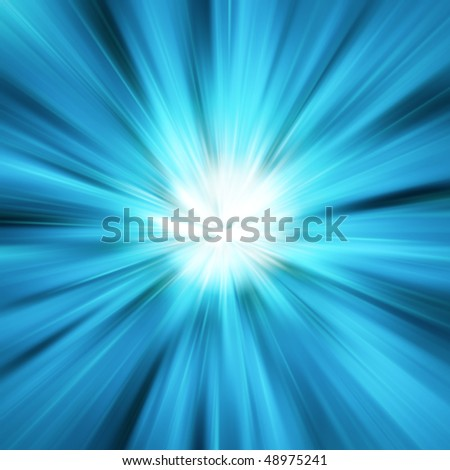 Blue light burst - stock photo