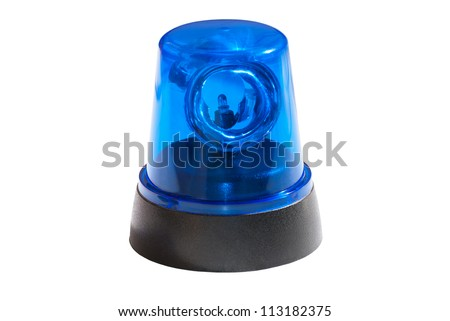 Blue light isolated on white background - stock photo