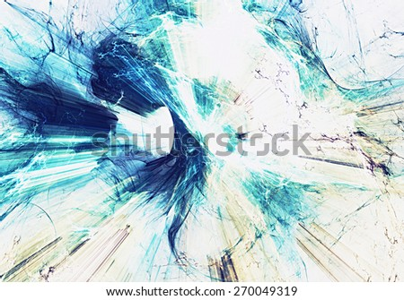 Blue light lines in motion. Abstract bright effect explosion. Modern futuristic concept background for wallpaper, interior, flyer cover, poster, booklet. Fractal art for creative graphic design. - stock photo