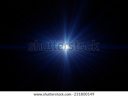 Blue light on black background - stock photo